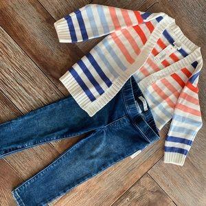 """Nwt Gymboree striped """"be happy"""" cardigan w/jeans"""